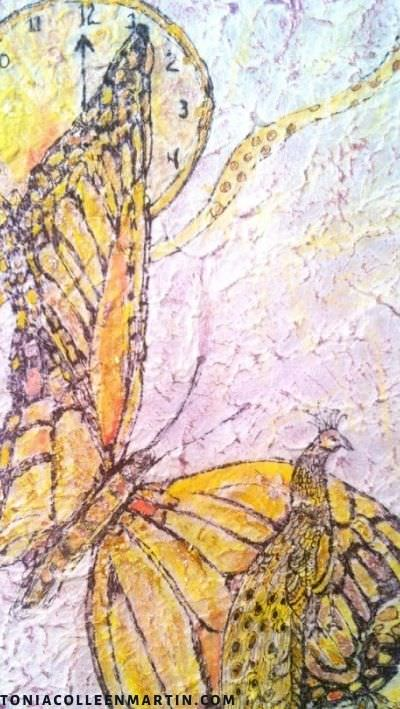 Clock and butterfly painting by Tonia Colleen Martin.